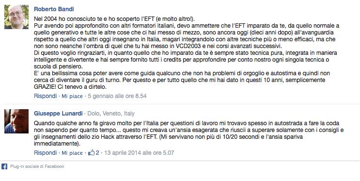EFT Testimonianze Facebook