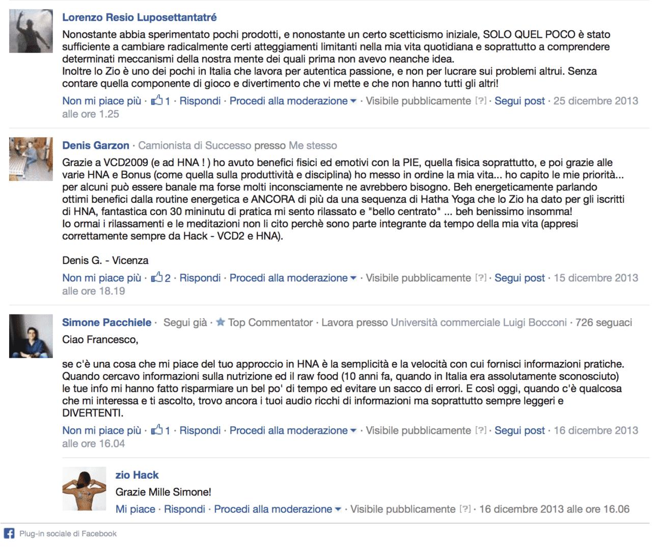 VCDb Testimonianze Facebook
